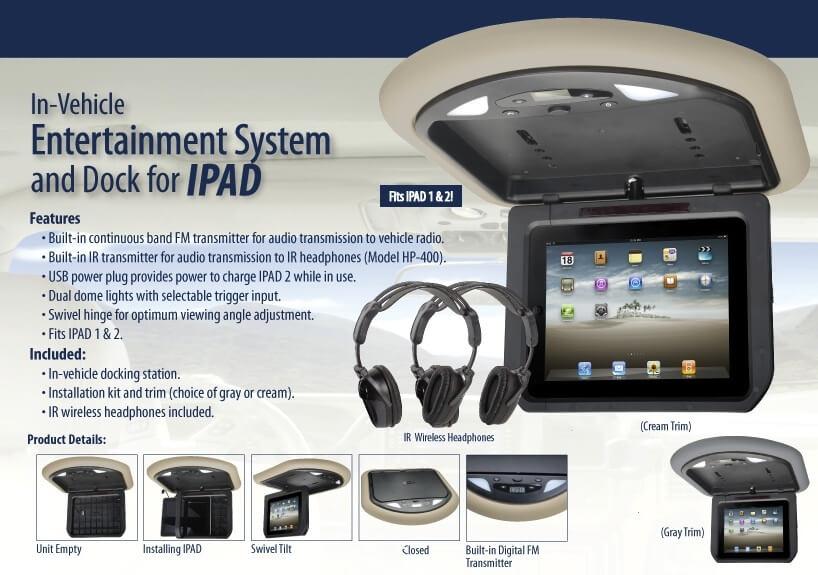 Ipad Overhead Roof Mount Ipad Dock With Headphones Mv Ipad2