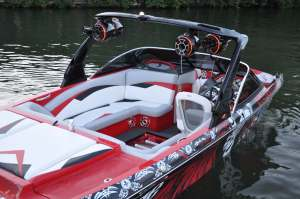 Wakeboard boat with Wakeboard Tower Speakers Driven Audio Abbotsford, BC