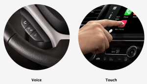 You can control your iPhone via CarPlay radios using Siri or by touching the screen.