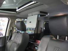 Our overhead DVD system looks right at home in this Dodge Ram.