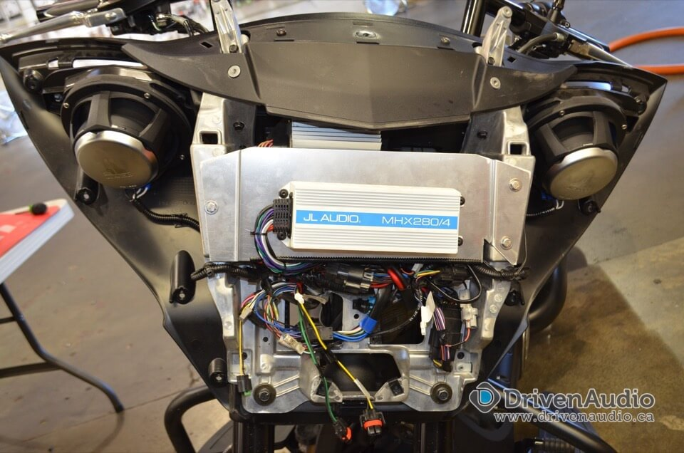Victory Motorcycle Audio Upgrade - Amplifier mounted on custom plate in fairing.