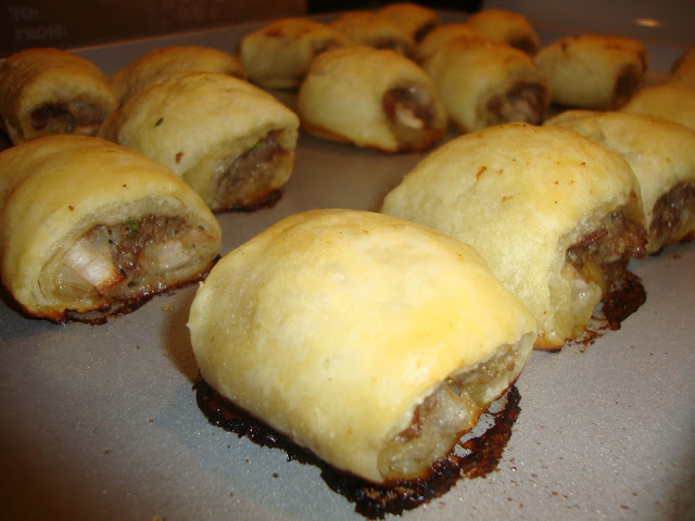 Closeup Of Tray Of Aussie Sausage Rolls