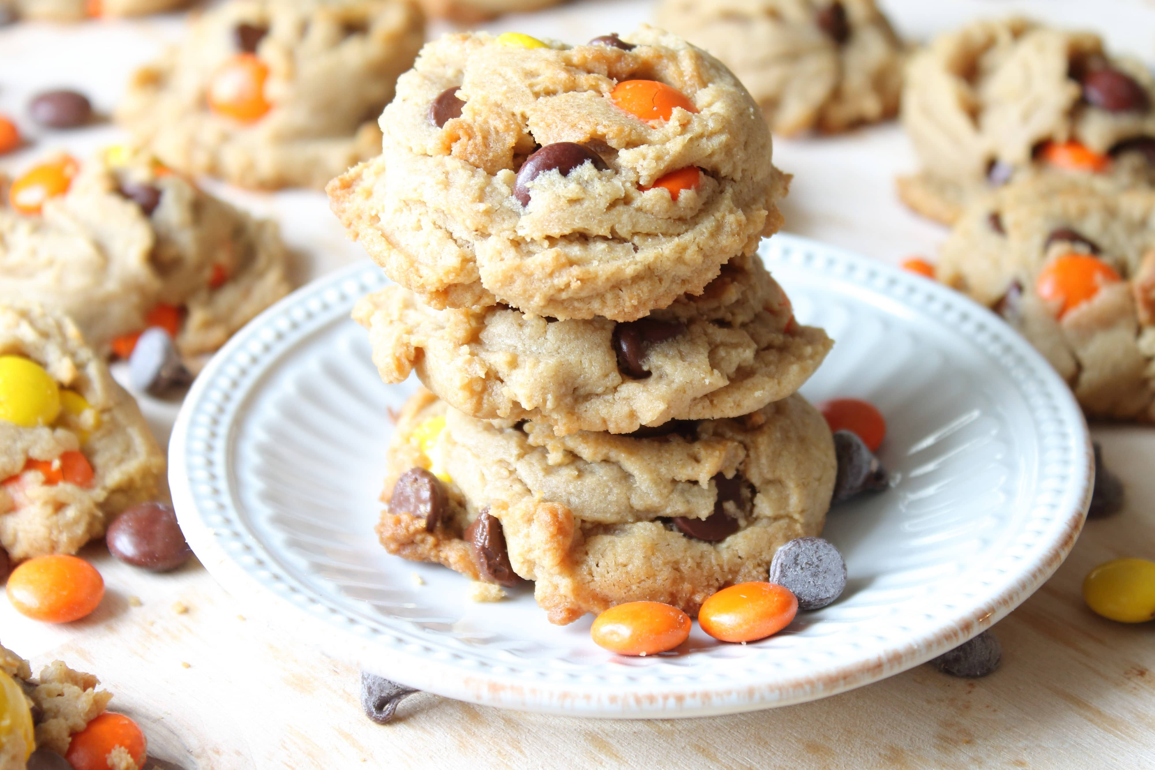 Stack of Reese's Pieces Peanut Butter Cookies