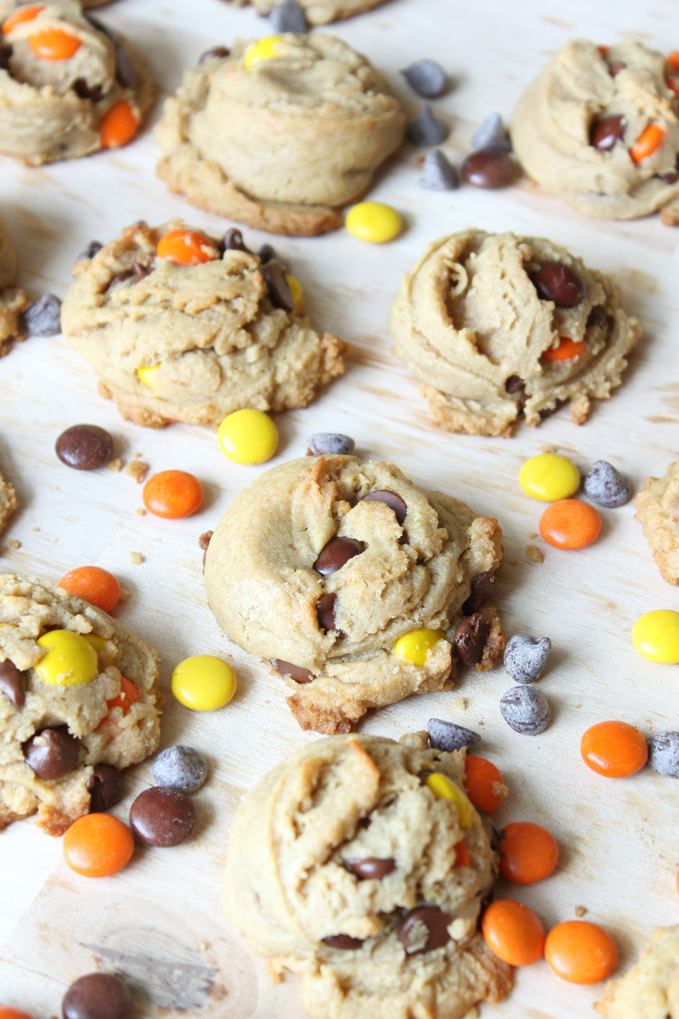 Reese's Pieces Peanut Butter Cookies with Reese's pieces and chocolate chips