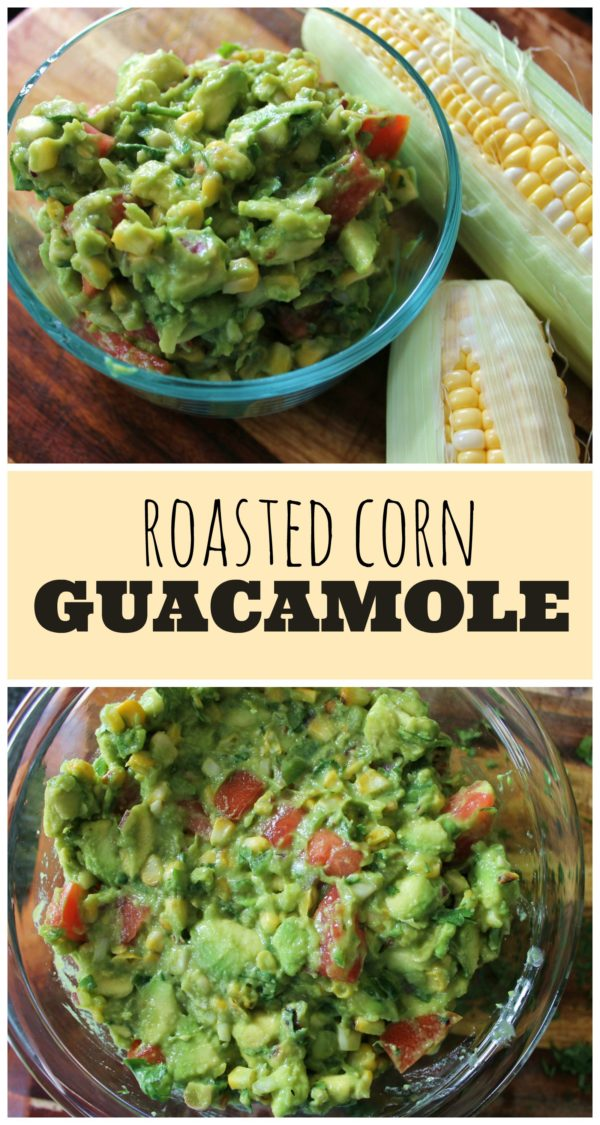 collage image of roasted corn guacamole with image text