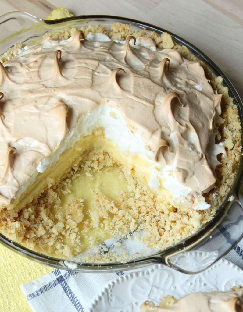 Atlantic Beach pie with a piece cut