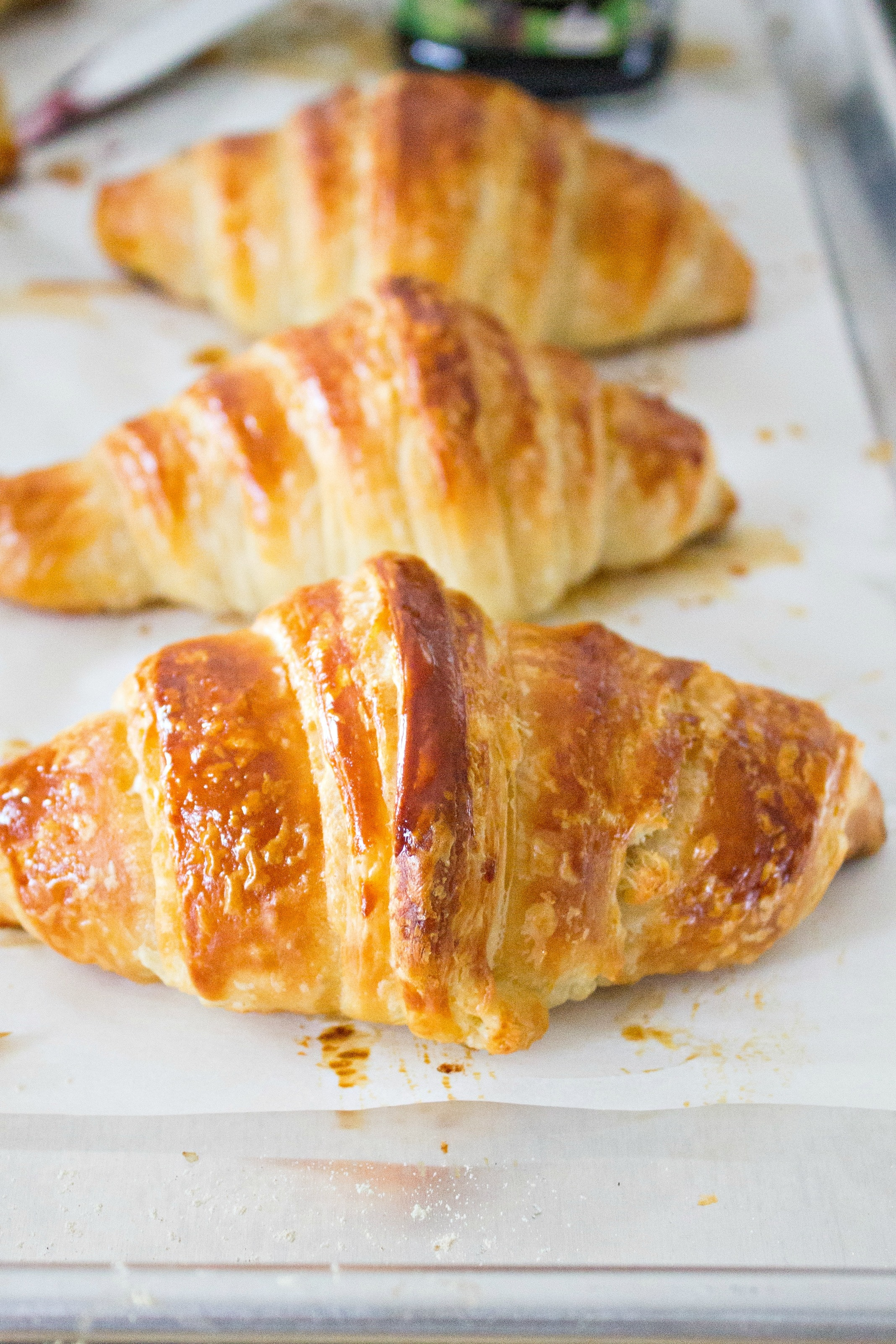 Three Classic Butter Croissants