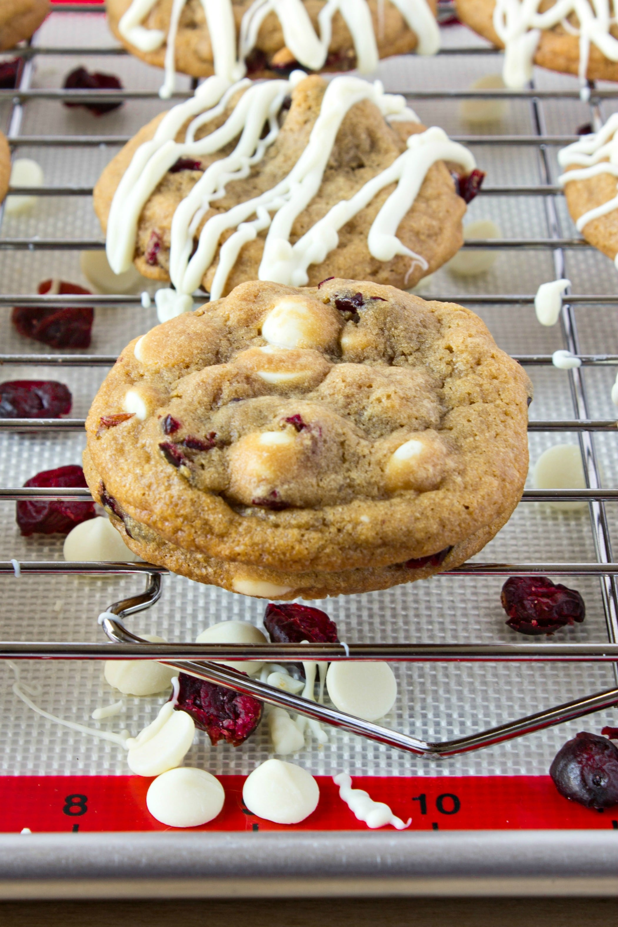 Cranberry Cookie Before Adding White Chocolate Drizzle