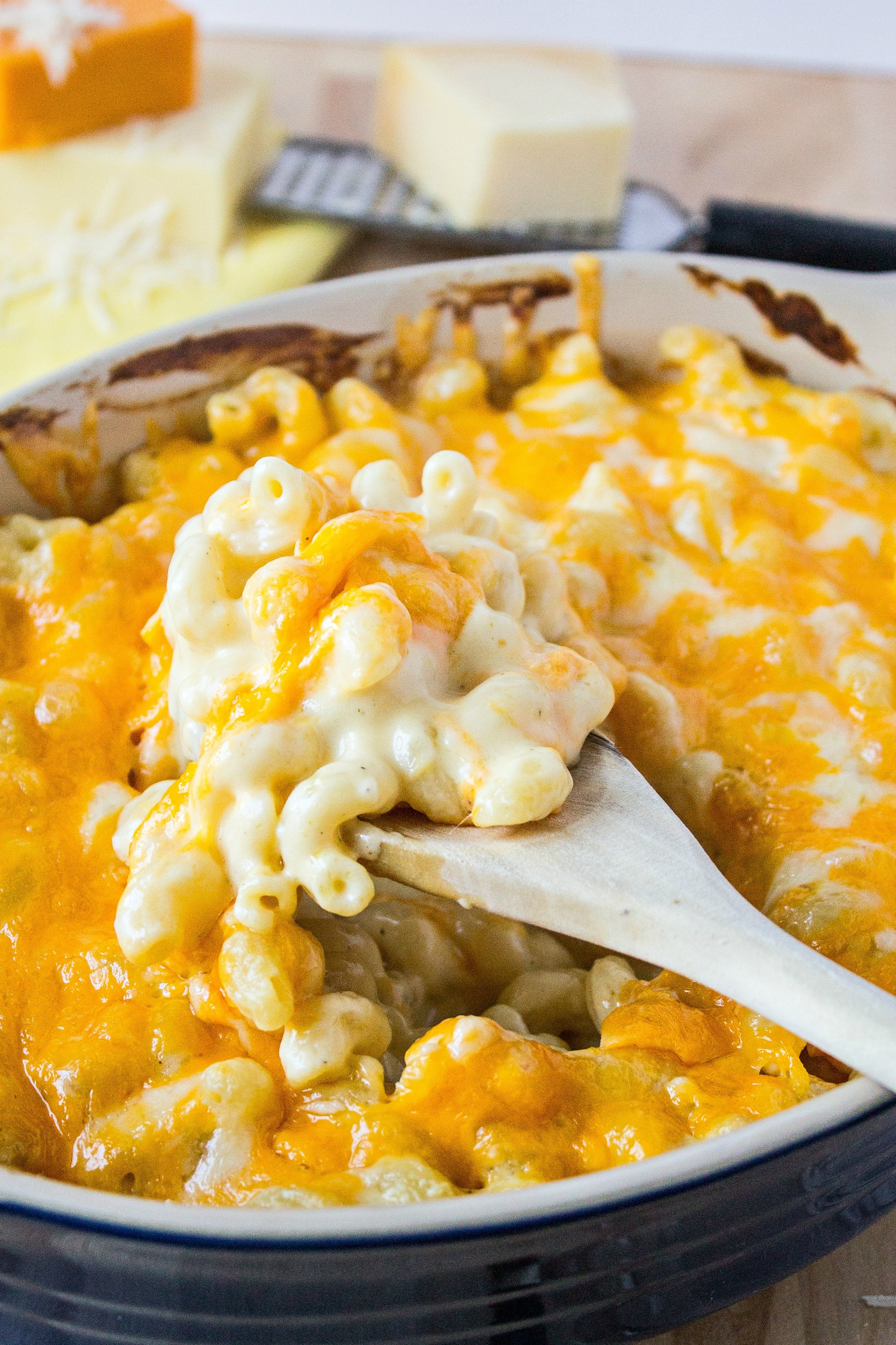 Pan of creamy baked mac and cheese