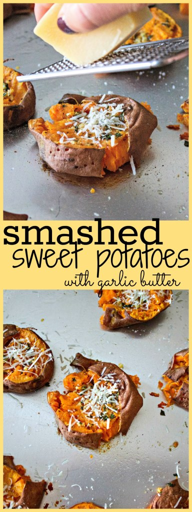 Collage Of Smashed Sweet Potatoes With Garlic Butter Pictures