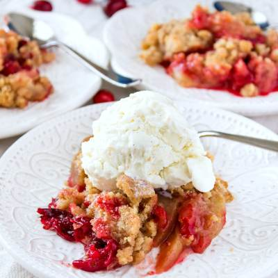 styled shot of Cranberry Apple Crumble