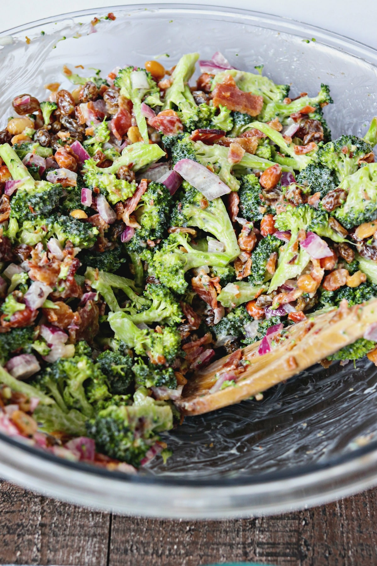 Bowl of Fresh Broccoli Salad with Crispy Bacon