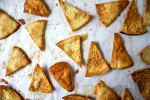 overhead shot of baked pita chips