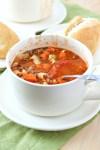 styled shot of Pasta e Fagioli Soup