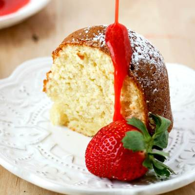 Cream Cheese Pound Cake with Strawberry Coulis