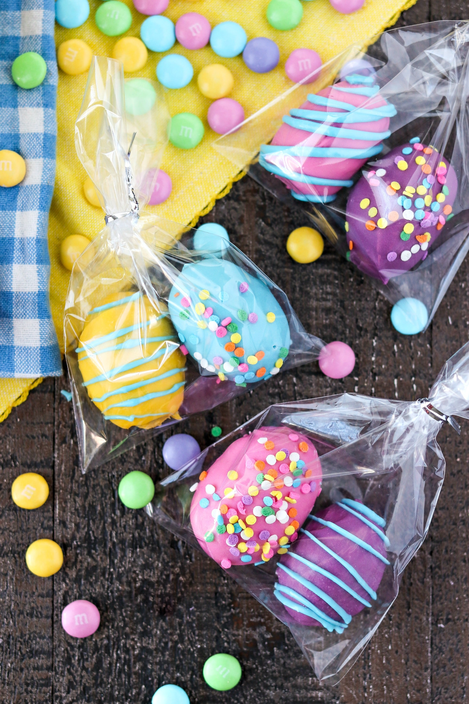 Cookie Dough Easter Eggs with M&M'S® wrapped in plastic