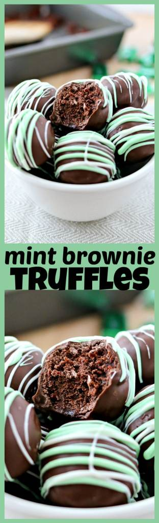 Mint Brownie Truffles - Transform your pan of brownies into these amazing mint brownie truffles! Simply crumble cooked brownies, add melted mint chocolate, roll into balls, and then coat in melted chocolate. That's all there is to it! And the colors are perfect for St. Patrick's Day!