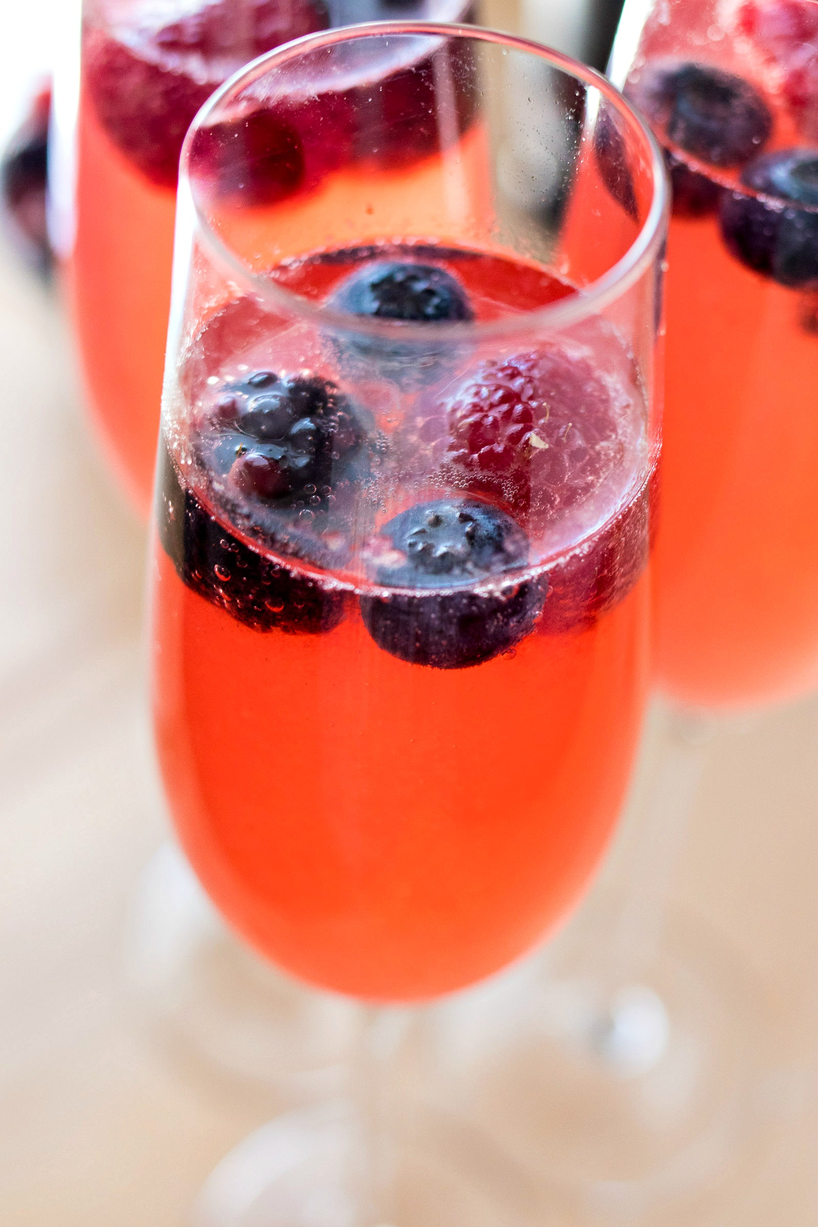 Berry Mimosa in a champagne flute