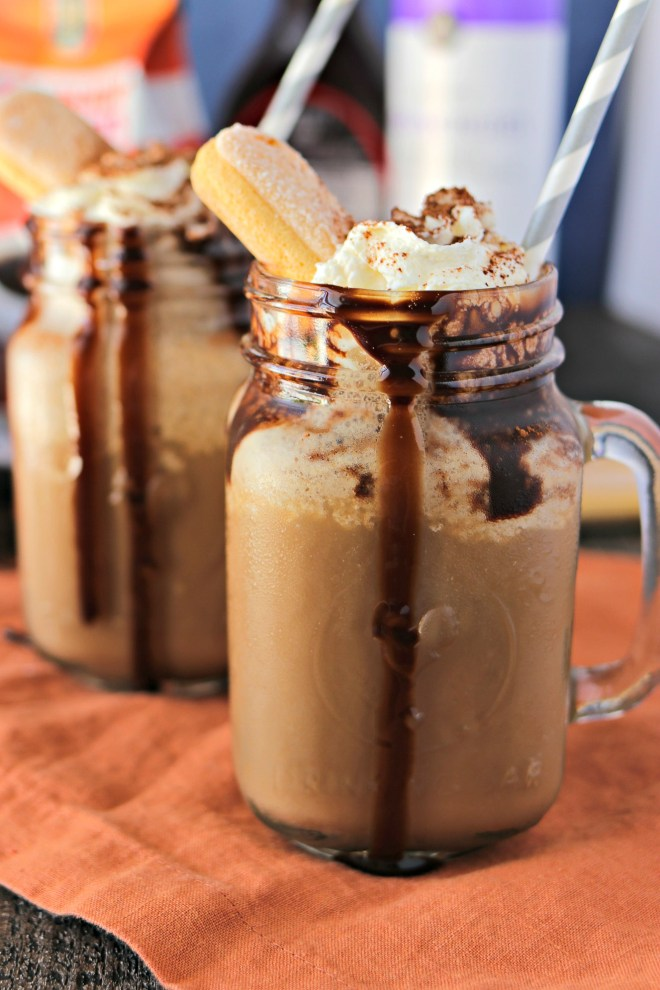 Tiramisu Frozen Coffee - Make your morning coffee even more exciting with a boost from the flavors of tiramisu. Made with double-strength coffee, milk, creamy marscapone cheese, crushed ladyfingers, chocolate syrup, and crushed ice, this tiramisu frozen coffee will transform your morning routine!