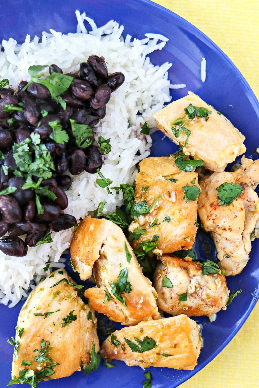 Cilantro Lime Chicken Bites served with black beans and rice