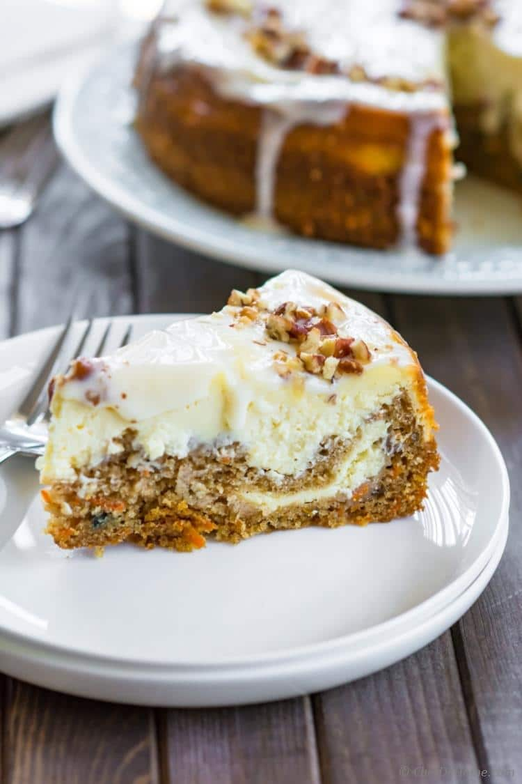 slice of carrot cake cheesecake