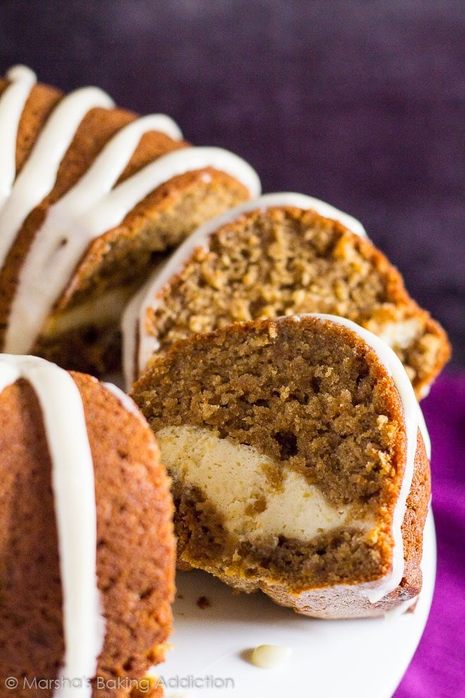 Slices of cheesecake carrot cake bundt cake