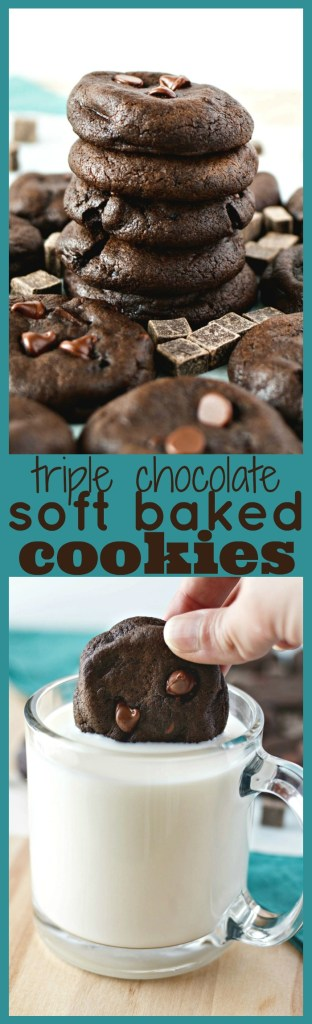 Triple Chocolate Soft Baked Cookies photo collage