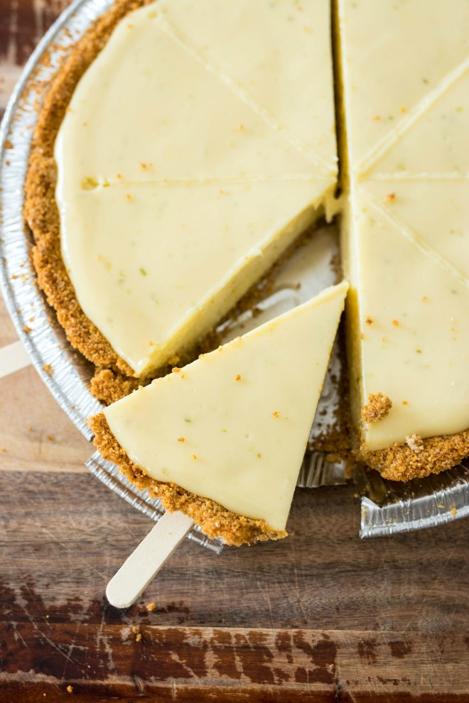 Chocolate-Covered Key Lime Pie - A rich and tangy slice of key lime pie dipped in creamy dark chocolate. It's a cool and refreshing treat to enjoy all summer long!