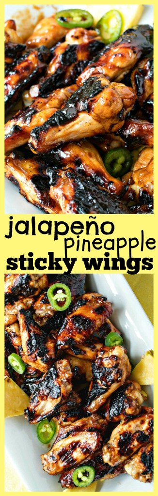 Jalapeno Pineapple Sticky Wings - The best recipe for sticky, sweet, and spicy wings! These wings are grilled and tossed in a jalapeno pineapple sticky sauce for the ultimate summer appetizer for your barbecues and parties.
