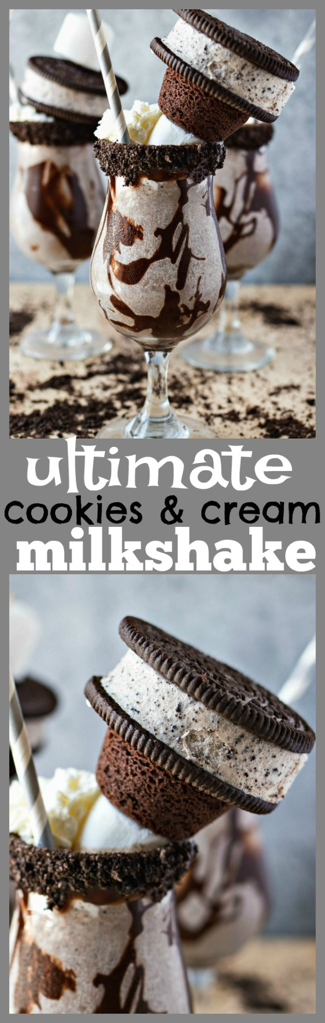 The Ultimate Cookies & Cream Milkshake - Your classic cookies & cream milkshake is taken up a notch with the addition of decadent garnishes like marshmallows, brownies, and ice cream sandwiches! You're never gonna wanna go back to the boring regular shake again!