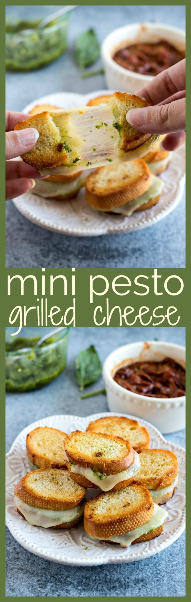 Mini Pesto Grilled Cheese - Fresh basil pesto and sliced provolone cheese is sandwiched into a crusty baguette and grilled to perfection the make the best appetizer for any event. Don't forget to serve with homemade garlic butter tomato sauce for dunking!