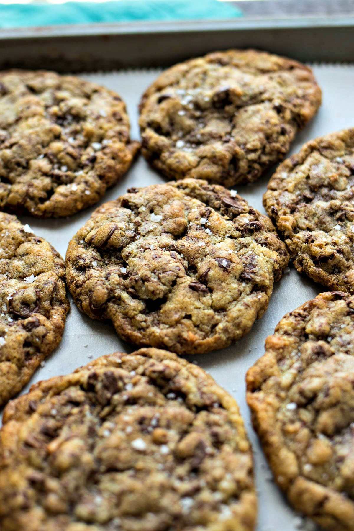 Tray of Sea Salt Toffee Chocolate Chip Cookies