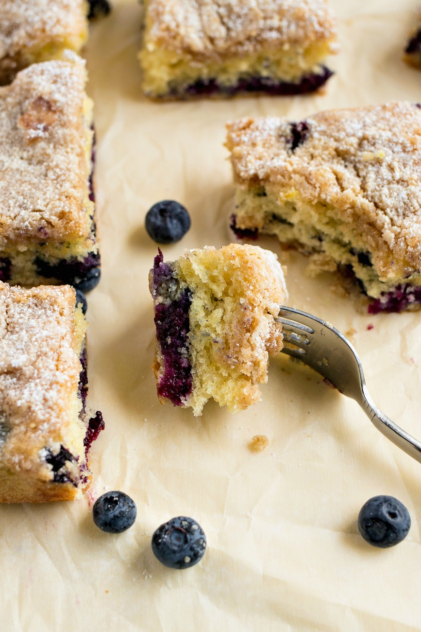 Forkful of Blueberry Coffee Cake
