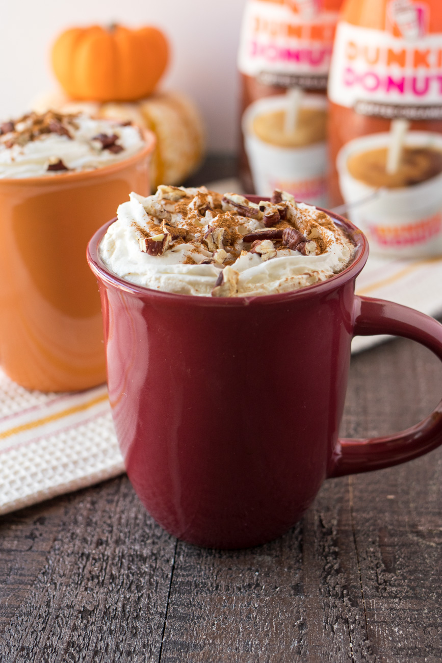 Cinnamon Maple Latte – Strong home-brewed coffee is mixed with a sprinkle of cinnamon, real maple syrup, Dunkin' Donuts® Extra Extra Creamer, and then topped with whipped cream and roasted pecans. Just call this fall in a cup!