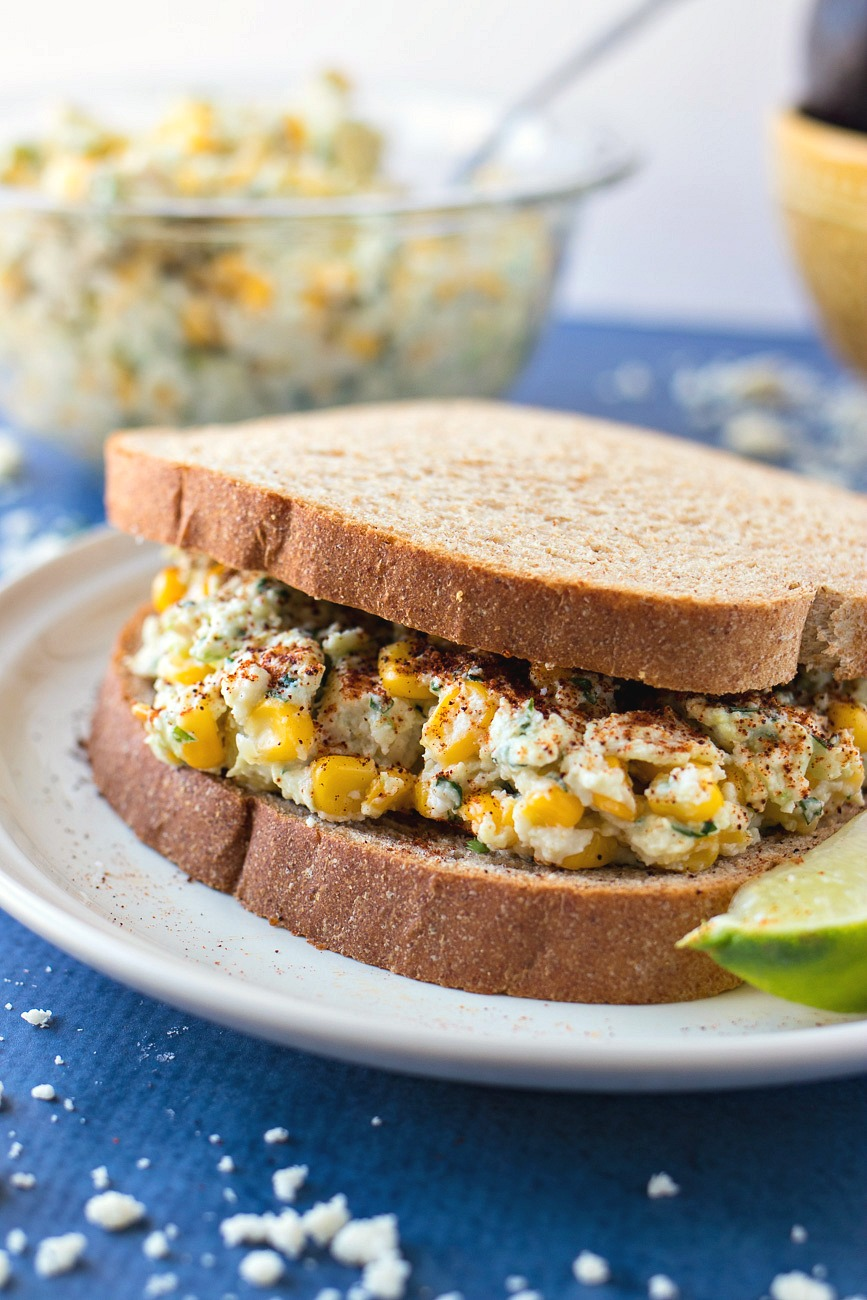 Sandwich made of Mexican Street Corn Chicken Salad