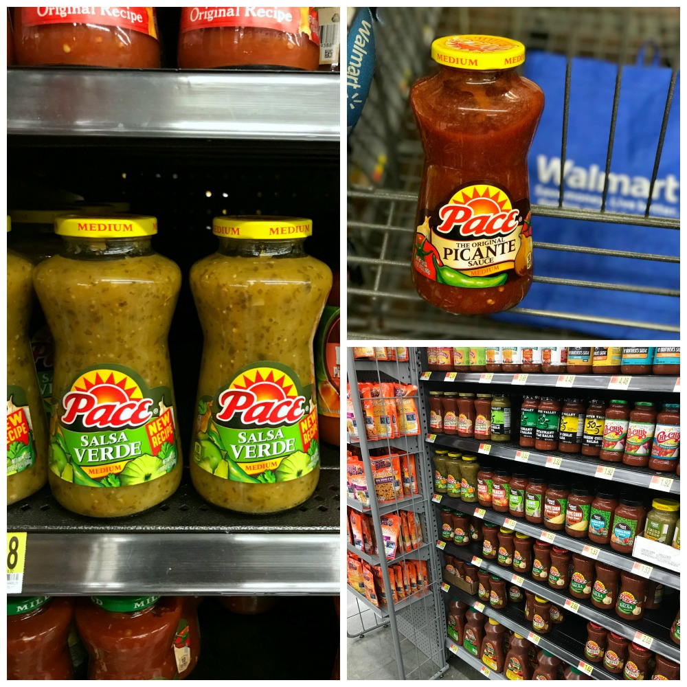 Pace Salsa Verde and Picante in the grocery store aisle