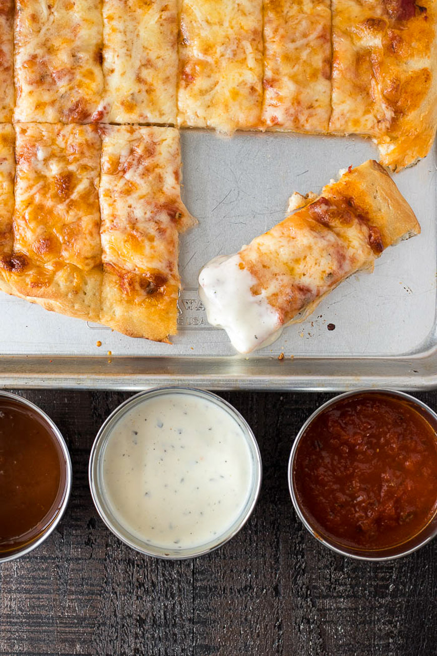 Four Cheese Pizza Dunker with ranch on one end