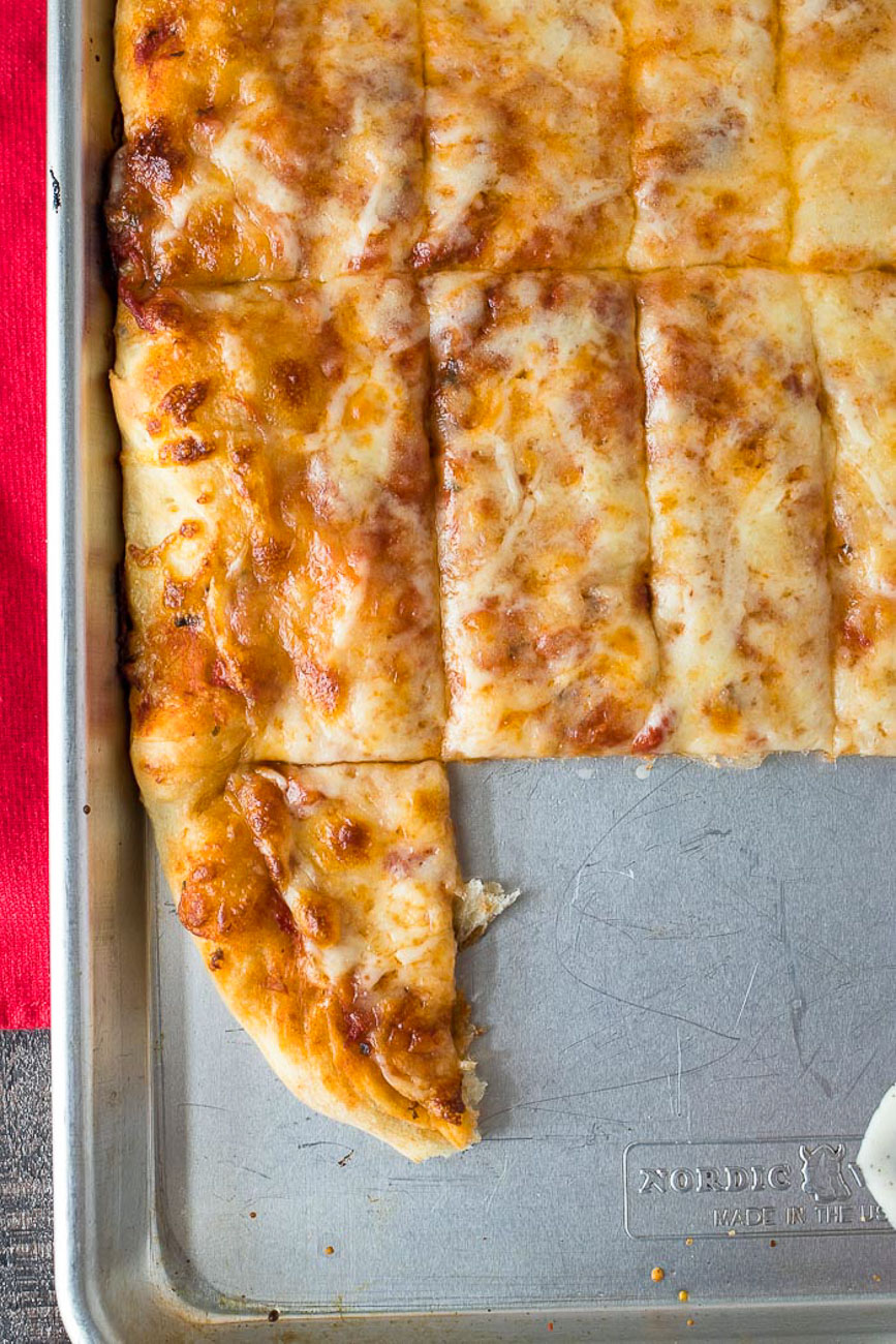Four Cheese Pizza Dunkers on nordic cooking tray