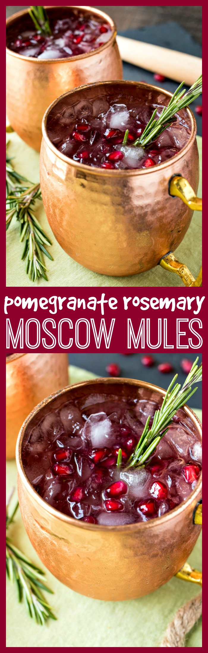 Pomegranate Rosemary Moscow Mule photo collage