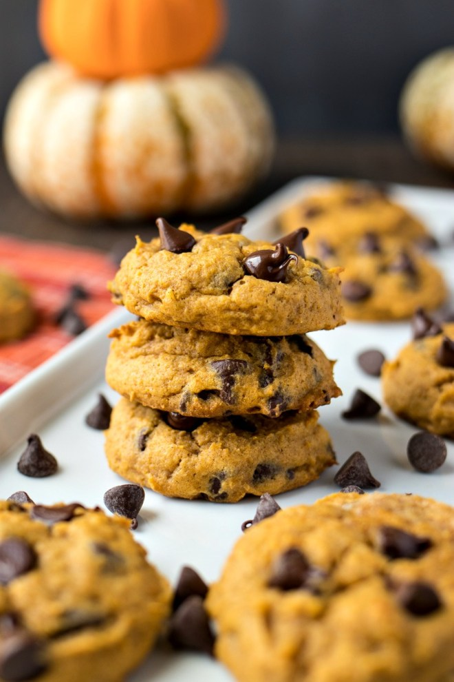 Pumpkin Chocolate Chip Cookies – Soft and fluffy pumpkin cookies sprinkled with chocolate chips and perfectly spiced with cinnamon