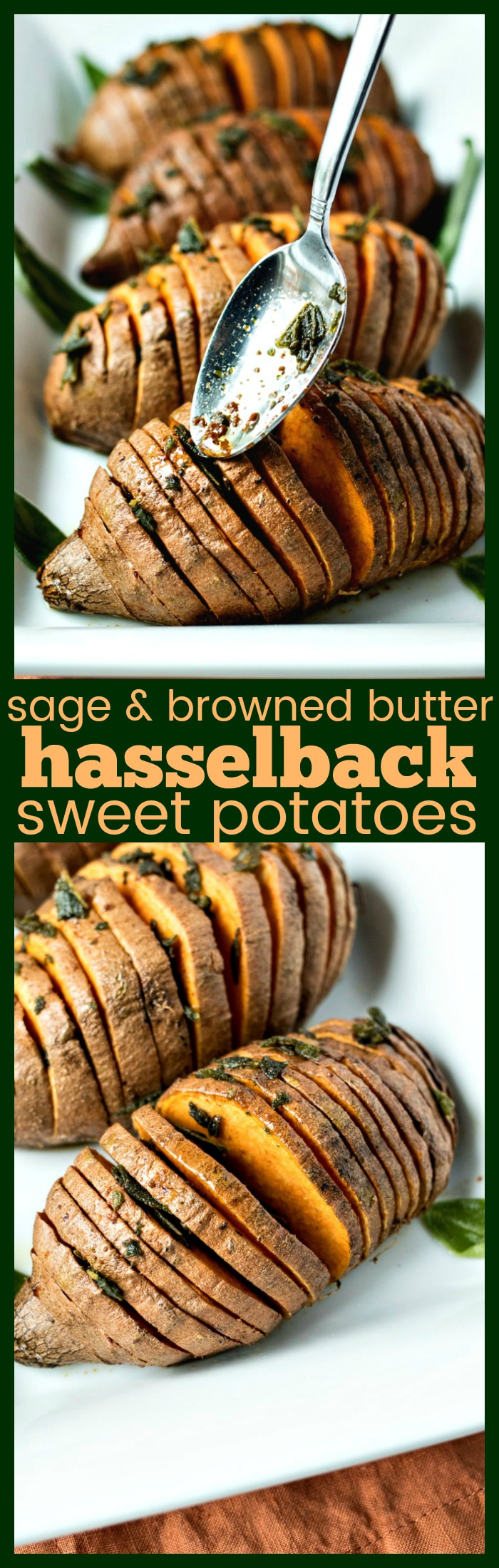 Sage & Browned Butter Hasselback Sweet Potatoes photo collage