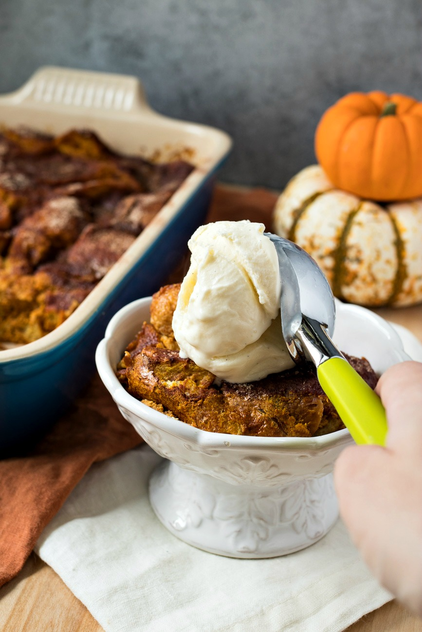 Pumpkin Snickerdoodle Bread Pudding – Cubed chunks of french bread soaked in a pumpkin custard, dusted with cinnamon sugar, and baked. Served with stellar Vanilla Fleur de Sel ice cream from High Road Ice Cream