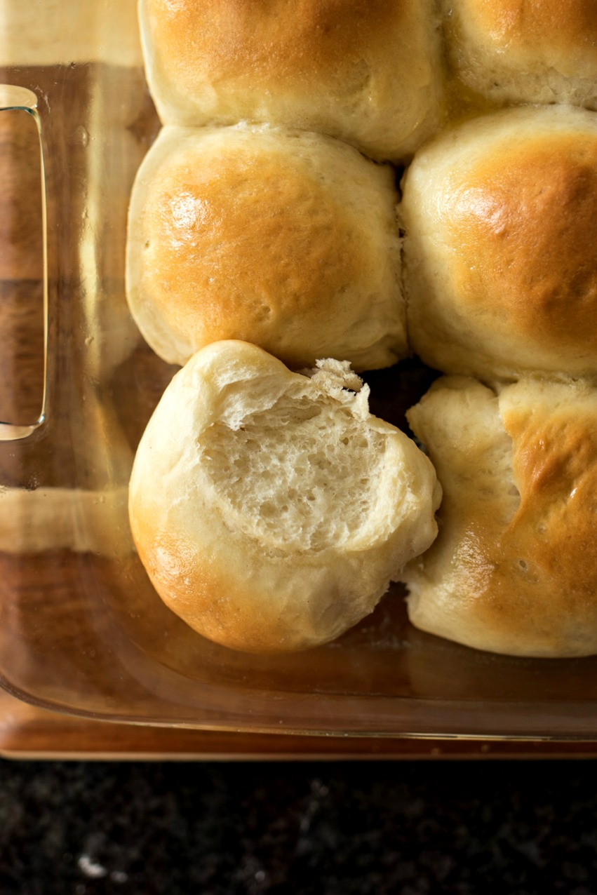 Pan of finished Sweet Yeast Rolls