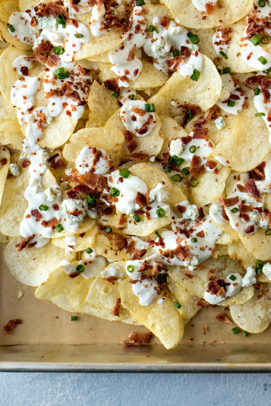 Finished tray of Bacon Blue Cheese Chips