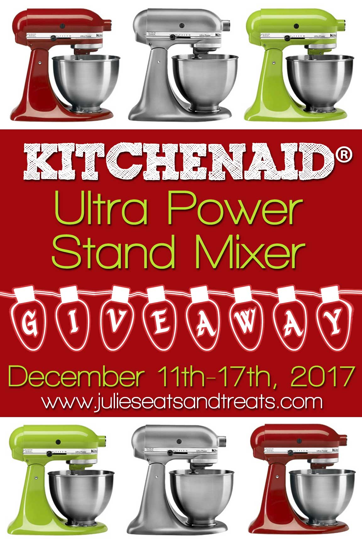Kitchenaid ultra power stand mixer giveaway, december 11th through 17th, 2017