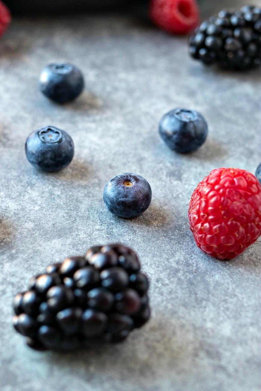 Closeup of blackberries, blueberries and raspberries