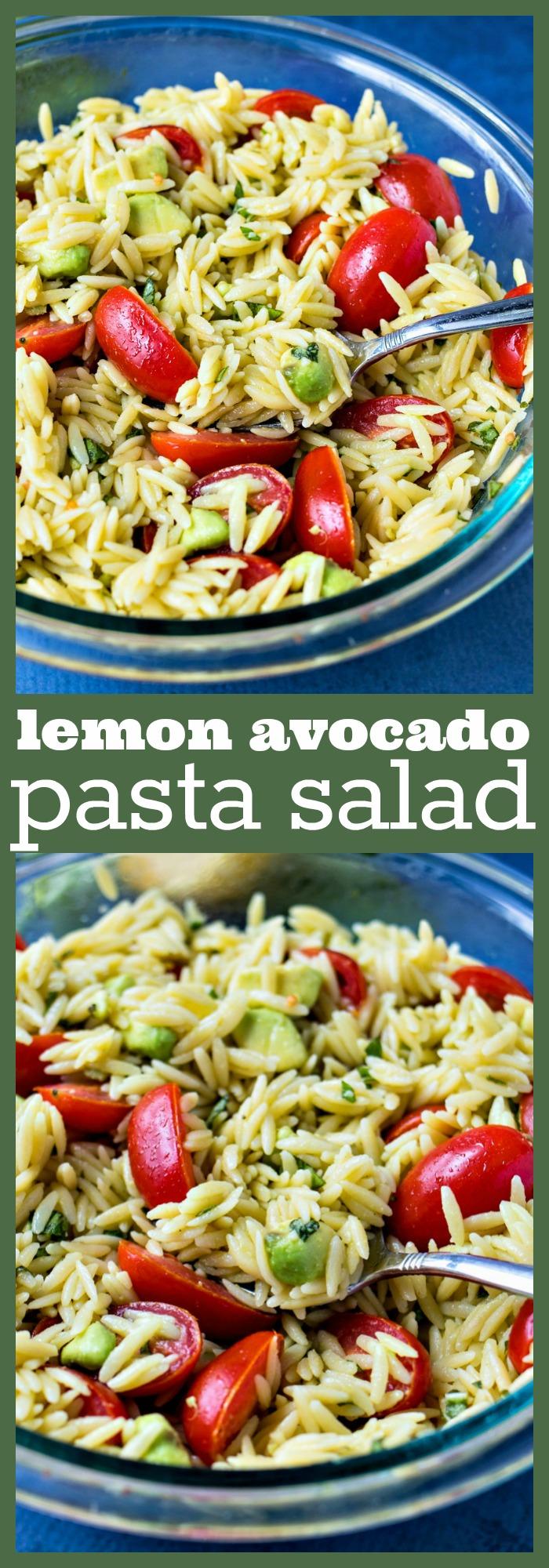 Lemon Avocado Pasta Salad photo collage
