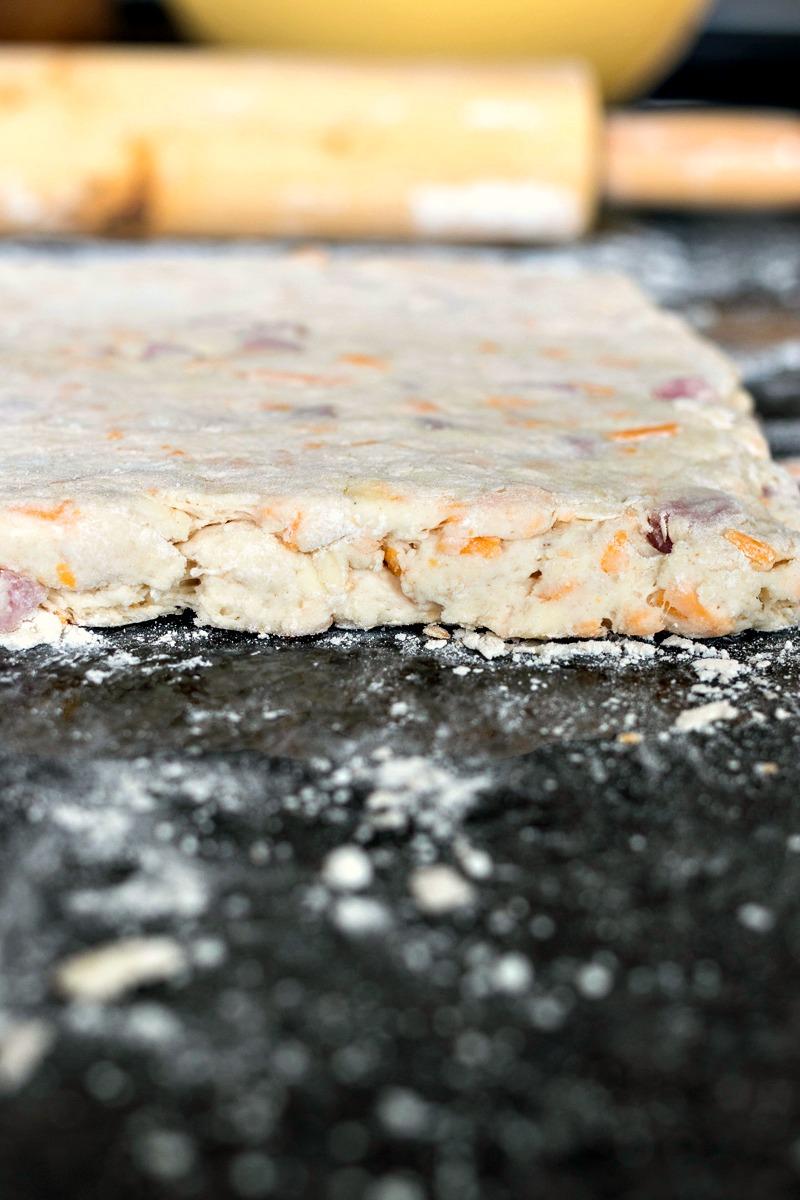 Closeup of Ham & Cheese Biscuit biscuit dough