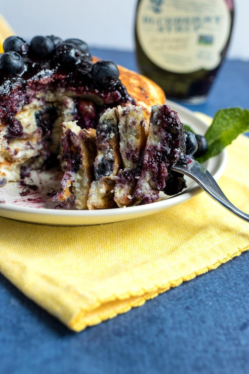 Forkful of Lemon Blueberry Ricotta Pancakes