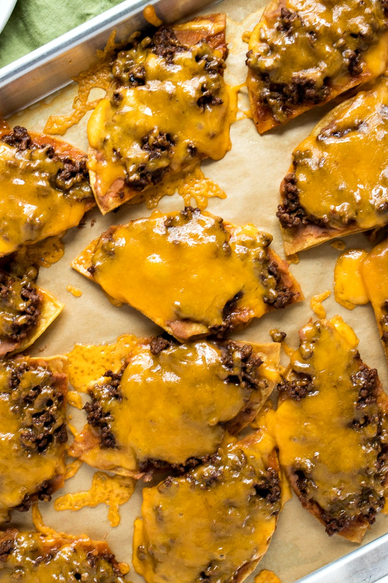 Loaded Texas Nachos, chips covered in meat and cheese